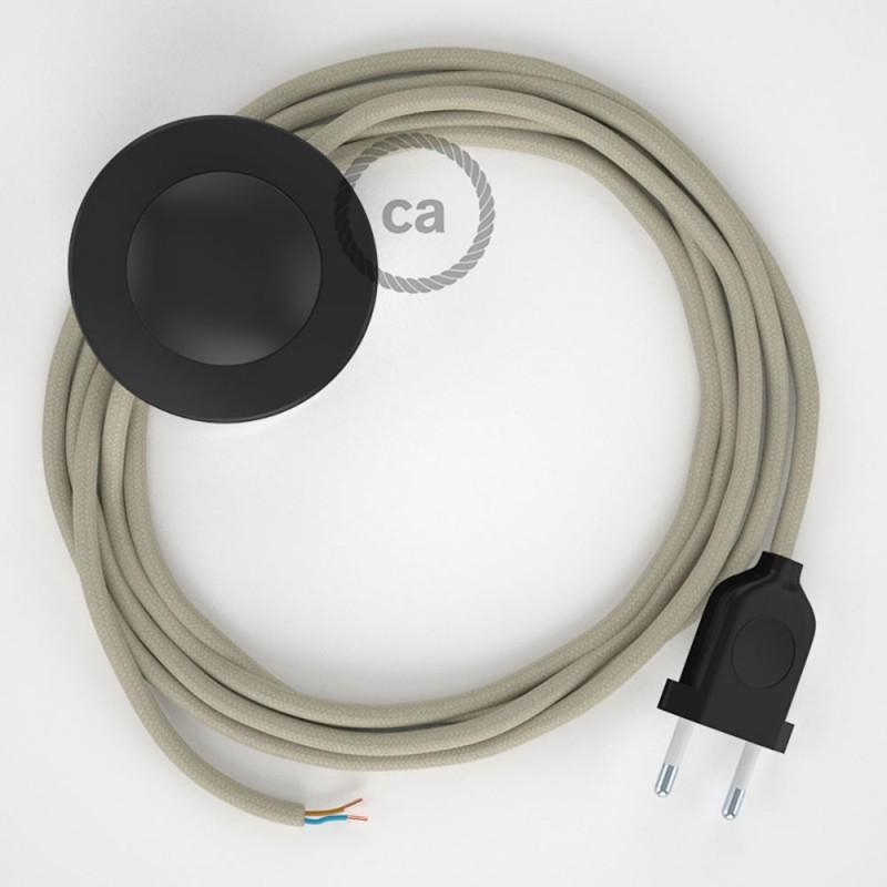 Υφασματινο Καλώδιο για Φωτιστικά Δαπέδου RC43 Κρεμ - 3 m. Με διακόπτη ποδός και φις.