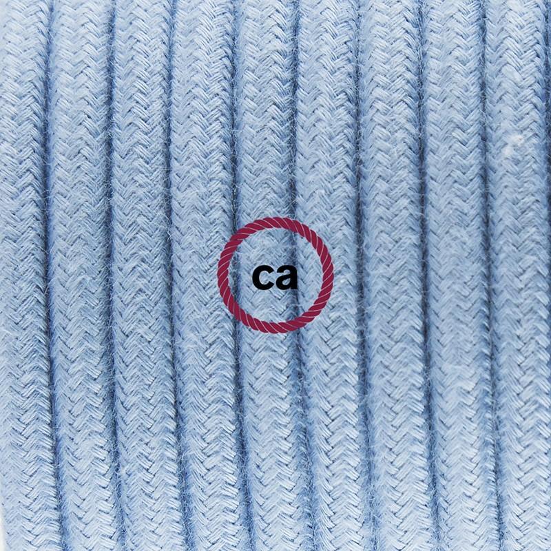 Υφασματινο Καλώδιο για Φωτιστικά Δαπέδου RC53 Φυσικό Γαλάζιο - 3 m. Με διακόπτη ποδός και φις.