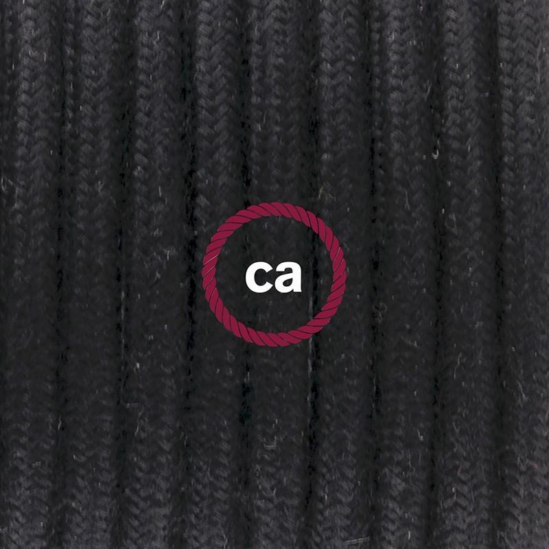 Υφασματινο Καλώδιο για Φωτιστικά Δαπέδου RC04 Μαύρο - 3 m. Με διακόπτη ποδός και φις.