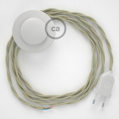 Στριφτό Υφασματινο Καλώδιο για Φωτιστικά Δαπέδου TC43 Κρεμ - 3 m. Με διακόπτη ποδός και φις.