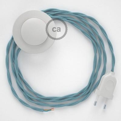 Στριφτό Υφασματινο Καλώδιο για Φωτιστικά Δαπέδου RC53 Φυσικό Γαλάζιο - 3 m. Με διακόπτη ποδός και φις.