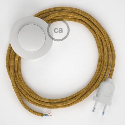 Υφασματινο Καλώδιο για Φωτιστικά Δαπέδου RL05 Χρυσό - 3 m. Με διακόπτη ποδός και φις.