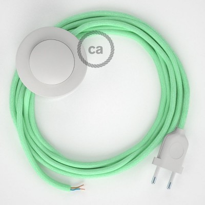 Υφασματινο Καλώδιο για Φωτιστικά Δαπέδου RC34 Απαλό Φυστικί - 3 m. Με διακόπτη ποδός και φις.