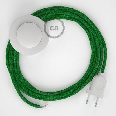 Υφασματινο Καλώδιο για Φωτιστικά Δαπέδου Γυαλιστερό RL06 Πράσινο - 3 m. Με διακόπτη ποδός και φις.