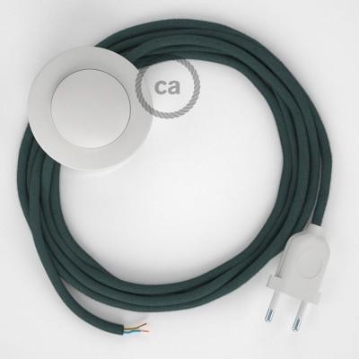 Υφασματινο Καλώδιο για Φωτιστικά Δαπέδου Πετρόλ Βαμβάκι RC30 - 3 m. Με ενδιάμεσο διακοπτάκι και φις.