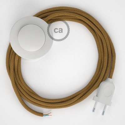 Υφασματινο Καλώδιο για Φωτιστικά Δαπέδου Μουσταρδί Βαμβάκι RC31 - 3 m. Με διακόπτη ποδός και φις.