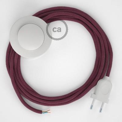 Υφασματινο Καλώδιο για Φωτιστικά Δαπέδου Δαμασκινί Βαμβάκι RC32 - 3 m. Με διακόπτη ποδός και φις.