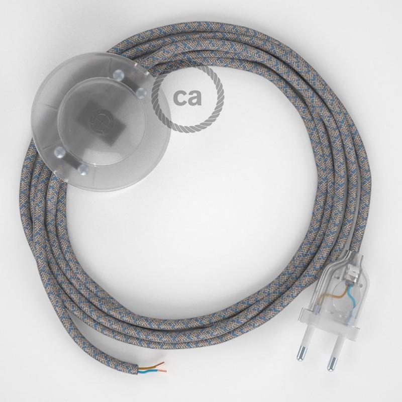 Υφασματινο Καλώδιο για Φωτιστικά Δαπέδου Lozenge μπεζ λινό και μπλε βαμβάκι RD65 - 3 m. Με διακόπτη ποδός και φις.