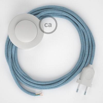 Υφασματινο Καλώδιο για Φωτιστικά Δαπέδου Ψαροκόκκαλο μπεζ λινό και μπλε βαμβάκι RD75 - 3 m. Με διακόπτη ποδός και φις.