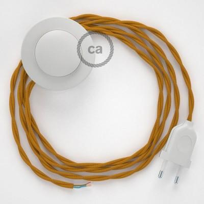 Στριφτό Υφασματινο Καλώδιο για Φωτιστικά Δαπέδου Μουσταρδί TM25 - 3 m. Με διακόπτη ποδός και φις.
