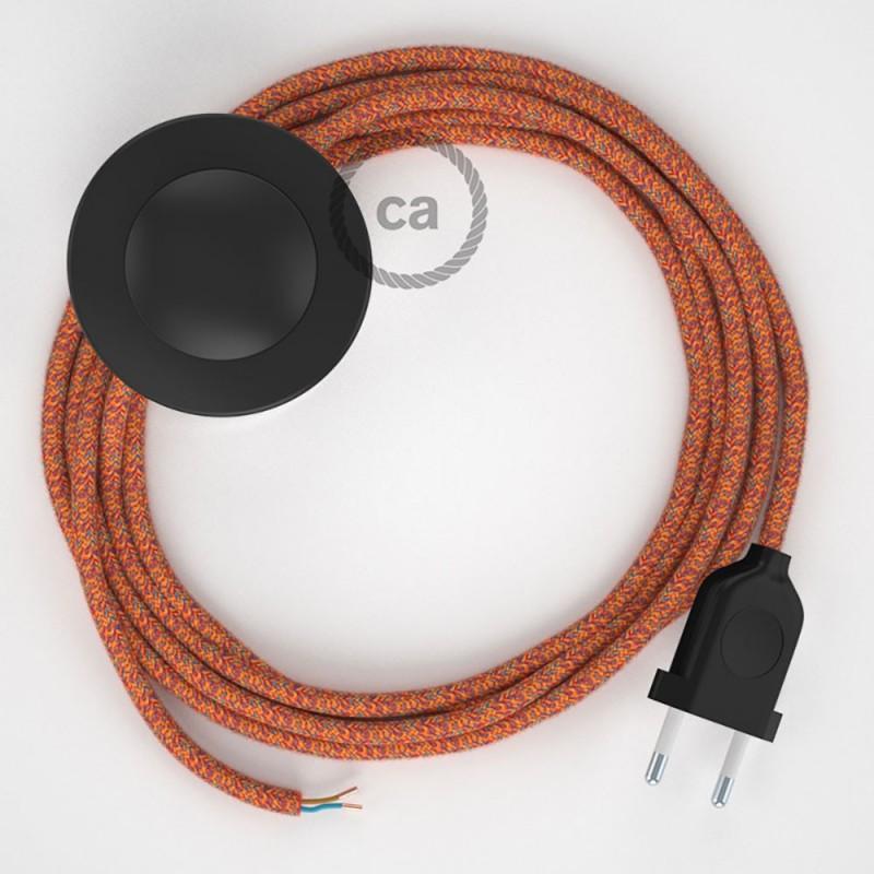 Υφασματινο Καλώδιο για Φωτιστικά Δαπέδου RX07 Indian Summer - 3 m. Με διακόπτη ποδός και φις.