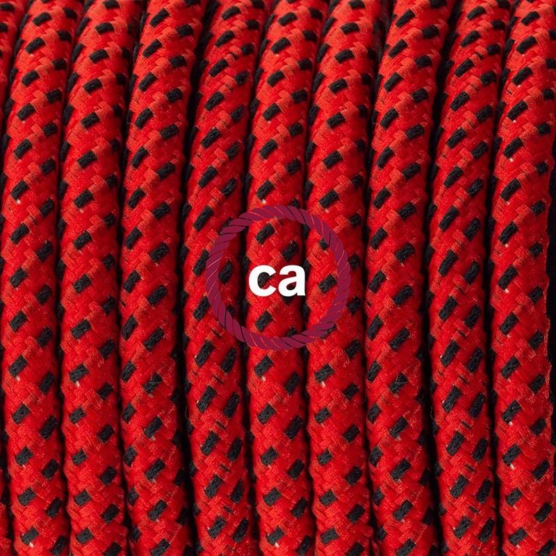 Υφασματινο Καλώδιο για Φωτιστικά Δαπέδου RT94 Κόκκινη Λάβα - 3 m. Με διακόπτη ποδός και φις.