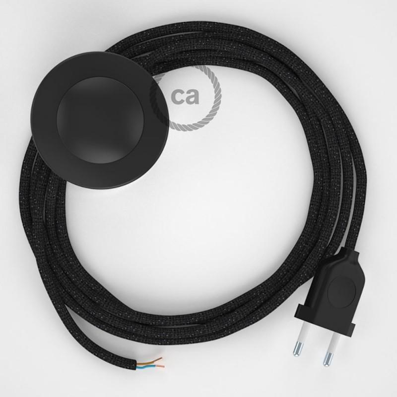 Υφασματινο Καλώδιο για Φωτιστικά Δαπέδου RL04 Γυαλιστερό Μαύρο - 3 m. Με διακόπτη ποδός και φις.