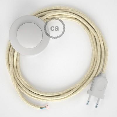 Υφασματινο Καλώδιο για Φωτιστικά Δαπέδου RM00 Ιβουάρ - 3 m. Με διακόπτη ποδός και φις.