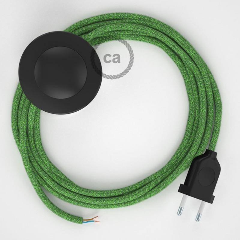 Υφασματινο Καλώδιο για Φωτιστικά Δαπέδου RX08 Λαχανί Pixel - 3 m. Με διακόπτη ποδός και φις.