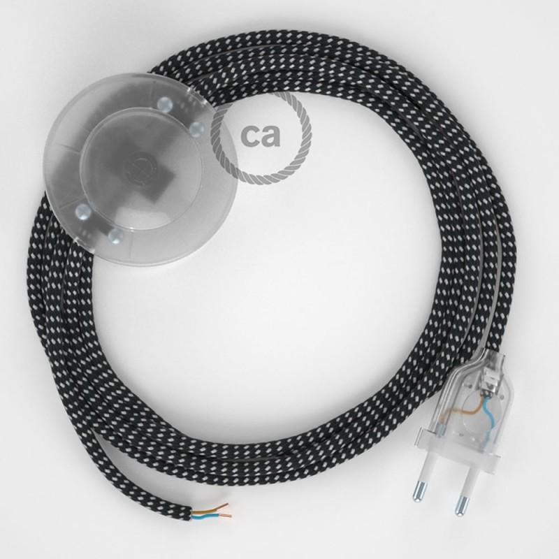 Υφασματινο Καλώδιο για Φωτιστικά Δαπέδου RT41 με 3D Εφέ Stars - 3 m. Με διακόπτη ποδός και φις.