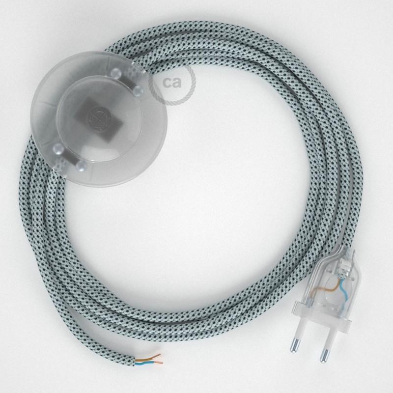 Υφασματινο Καλώδιο για Φωτιστικά Δαπέδου RT14 με 3D Εφέ Stracciatella - 3 m. Με διακόπτη ποδός και φις.