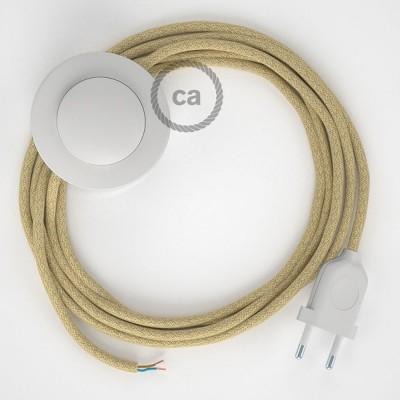 Υφασματινο Καλώδιο για Φωτιστικά Δαπέδου RN06 Φυσικό Σχοινί από Γιούτα - 3 m. Με διακόπτη ποδός και φις.