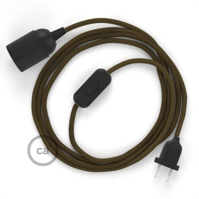 Καλωδίωση SnakeBis με ντουί, διακόπτη και υφασμάτινο καλώδιο - Καφέ Βαμβάκι RC13