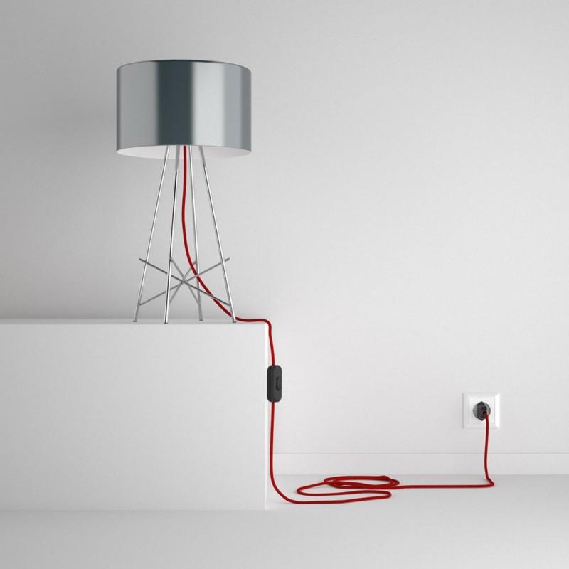 Καλωδίωση SnakeBis με ντουί, διακόπτη και υφασμάτινο καλώδιο - Κόκκινο της Φωτιάς Βαμβάκι RC35