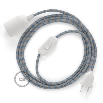 Καλωδίωση SnakeBis με ντουί, διακόπτη και υφασμάτινο καλώδιο - Μπλέ Ρίγες Βαμβάκι και Φυσικό Λινό RD55