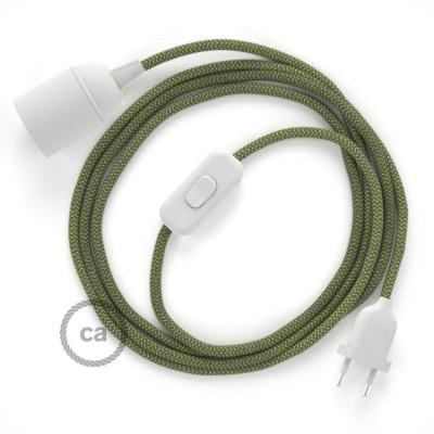 Καλωδίωση SnakeBis με ντουί, διακόπτη και υφασμάτινο καλώδιο - Λαδί Stripes Βαμβάκι και Φυσικό Λινό RD72