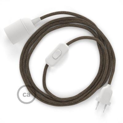 Καλωδίωση SnakeBis με ντουί, διακόπτη και υφασμάτινο καλώδιο - Καφέ Ψαροκόκκαλο Βαμβάκι και Φυσικό Λινό RD73