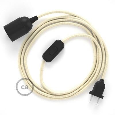 Καλωδίωση SnakeBis με ντουί, διακόπτη και υφασμάτινο καλώδιο - Ιβουάρ Ραιγιόν Μετάξι RM00