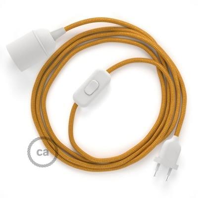 Καλωδίωση SnakeBis με ντουί, διακόπτη και υφασμάτινο καλώδιο - Χρυσό Ραιγιόν Μετάξι RM05