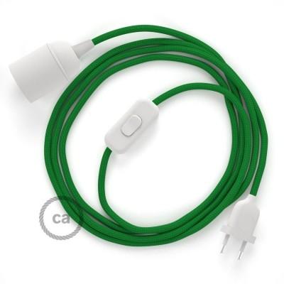 Καλωδίωση SnakeBis με ντουί, διακόπτη και υφασμάτινο καλώδιο - Πράσινο Ραιγιόν Μετάξι RM06