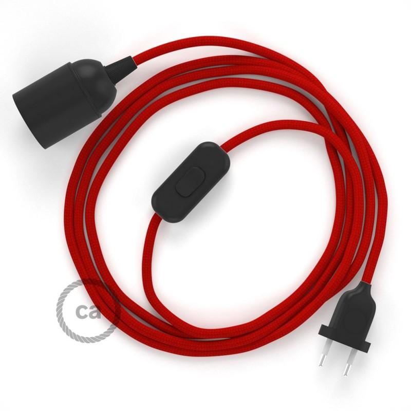 Καλωδίωση SnakeBis με ντουί, διακόπτη και υφασμάτινο καλώδιο - Κόκκινο Ραιγιόν Μετάξι RM09