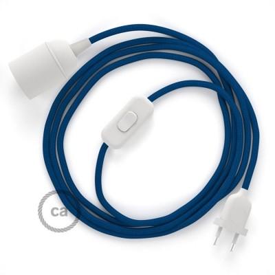 Καλωδίωση SnakeBis με ντουί, διακόπτη και υφασμάτινο καλώδιο - Μπλε Ραιγιόν Μετάξι RM12