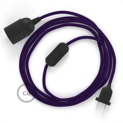 Καλωδίωση SnakeBis με ντουί, διακόπτη και υφασμάτινο καλώδιο - Μωβ Ραιγιόν Μετάξι RM14