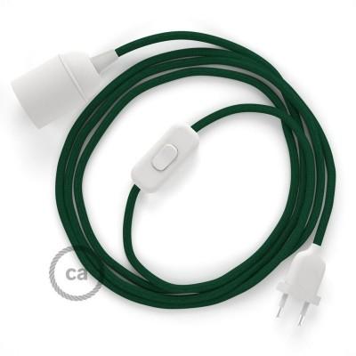 Καλωδίωση SnakeBis με ντουί, διακόπτη και υφασμάτινο καλώδιο - Σκούρο Πράσινο Ραιγιόν Μετάξι RM21