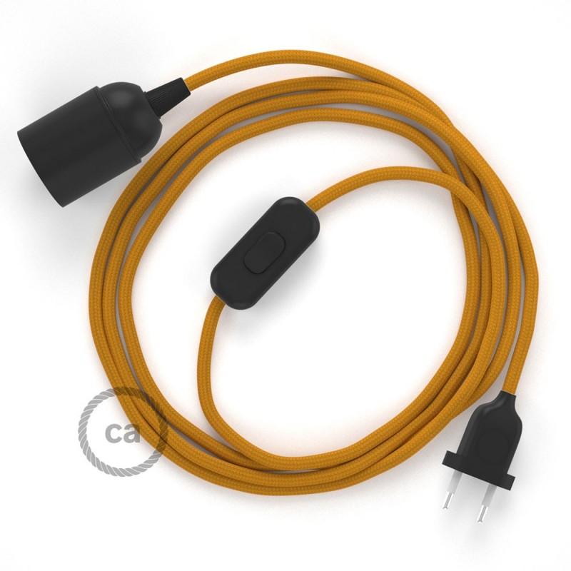 Καλωδίωση SnakeBis με ντουί, διακόπτη και υφασμάτινο καλώδιο - Μουσταρδί Ραιγιόν Μετάξι RM25