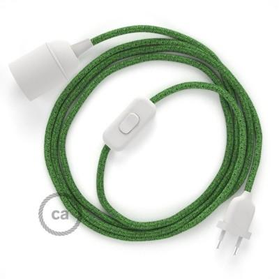 Καλωδίωση SnakeBis με ντουί, διακόπτη και υφασμάτινο καλώδιο - Πράσινο Grass RX08