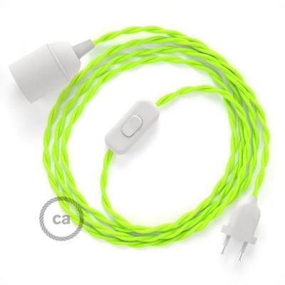 Καλωδίωση SnakeBis με ντουί, διακόπτη και υφασμάτινο καλώδιο - ΝΕΟΝ Κίτρινο Ραιγιόν Μετάξι TF10