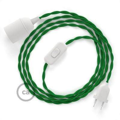 Καλωδίωση SnakeBis με ντουί, διακόπτη και υφασμάτινο καλώδιο - Πράσινο Ραιγιόν Μετάξι TM06