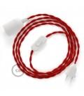 Καλωδίωση SnakeBis με ντουί, διακόπτη και υφασμάτινο καλώδιο - Κόκκινο Ραιγιόν Μετάξι  TM09