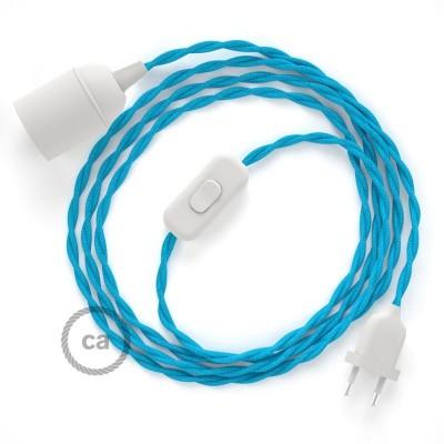 Καλωδίωση SnakeBis με ντουί, διακόπτη και υφασμάτινο καλώδιο - Τιρκουάζ Ραιγιόν Μετάξι TM11
