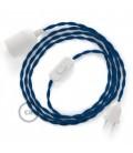 Καλωδίωση SnakeBis με ντουί, διακόπτη και υφασμάτινο καλώδιο - Μπλε Ραιγιόν Μετάξι  TM12