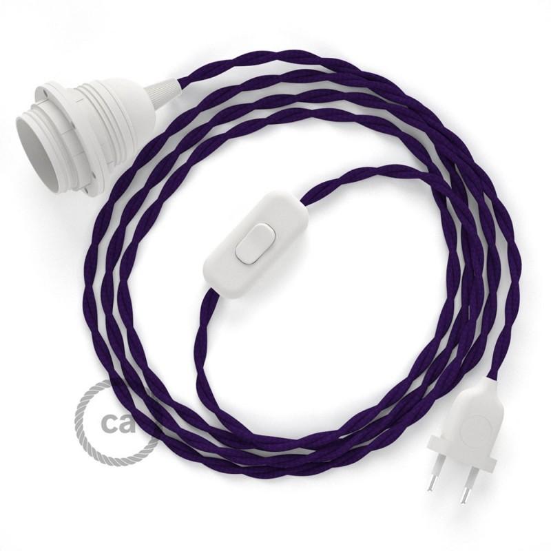 Καλωδίωση SnakeBis με ντουί, διακόπτη και υφασμάτινο καλώδιο - Μωβ Ραιγιόν Μετάξι  TM14