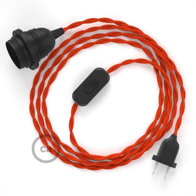 Καλωδίωση SnakeBis με ντουί, διακόπτη και υφασμάτινο καλώδιο - Πορτοκαλί Ραιγιόν Μετάξι  TM15