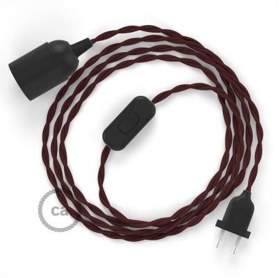 Καλωδίωση SnakeBis με ντουί, διακόπτη και υφασμάτινο καλώδιο - Μπορντώ Ραιγιόν Μετάξι TM19