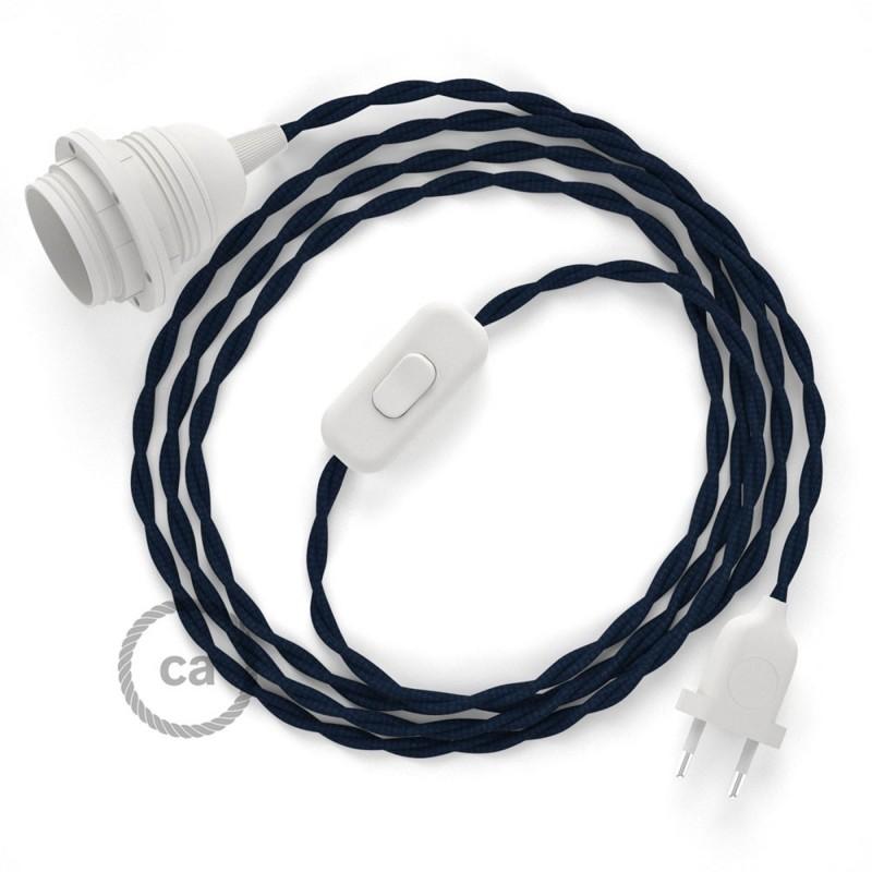 Καλωδίωση SnakeBis με ντουί, διακόπτη και υφασμάτινο καλώδιο - Σκούρο Μπλε Ραιγιόν Μετάξι TM20