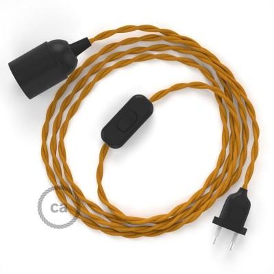 Καλωδίωση SnakeBis με ντουί, διακόπτη και υφασμάτινο καλώδιο - Μουσταρδί Ραιγιόν Μετάξι TM25