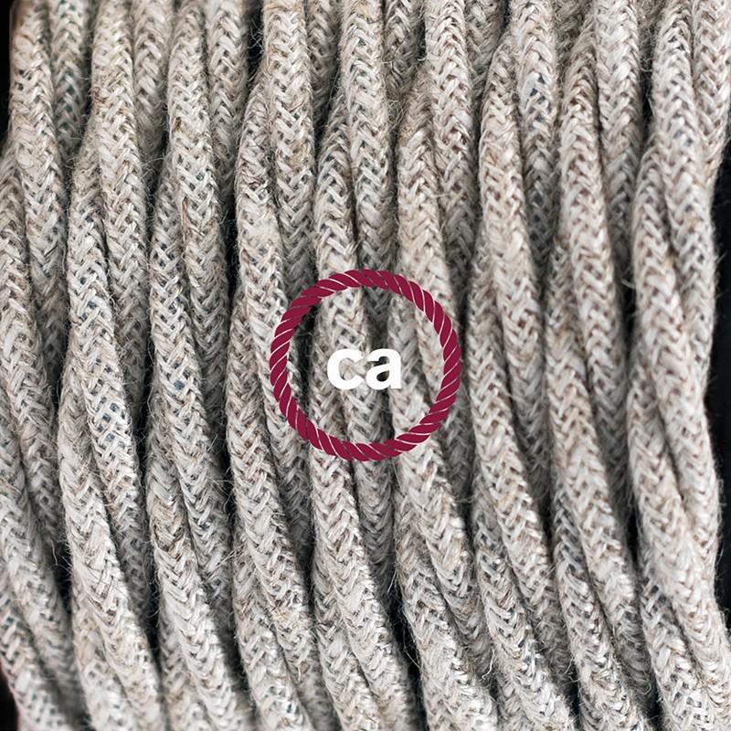 Καλωδίωση SnakeBis με ντουί, διακόπτη και υφασμάτινο καλώδιο - Μπεζ Βαμβάκι και Φυσικό Λινό TN01