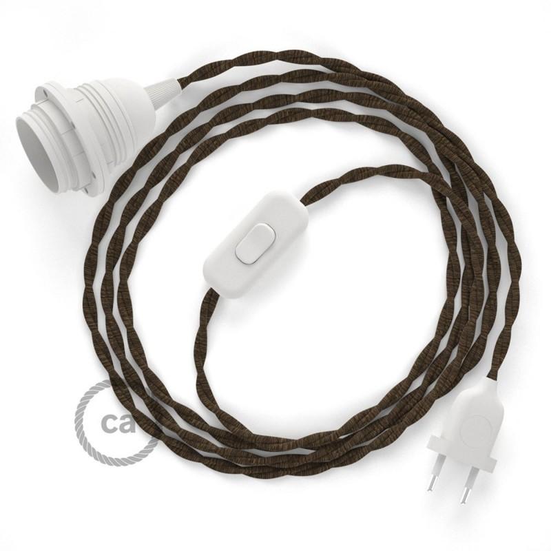 Καλωδίωση SnakeBis με ντουί, διακόπτη και υφασμάτινο καλώδιο - Καφέ Βαμβάκι και Φυσικό Λινό TN04