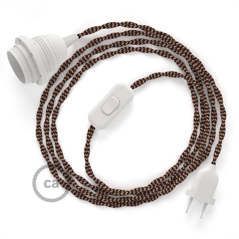 Καλωδίωση SnakeBis με ντουί, διακόπτη και υφασμάτινο καλώδιο - Μαύρο και Χάλκινο Ραιγιόν Μετάξι  TZ22