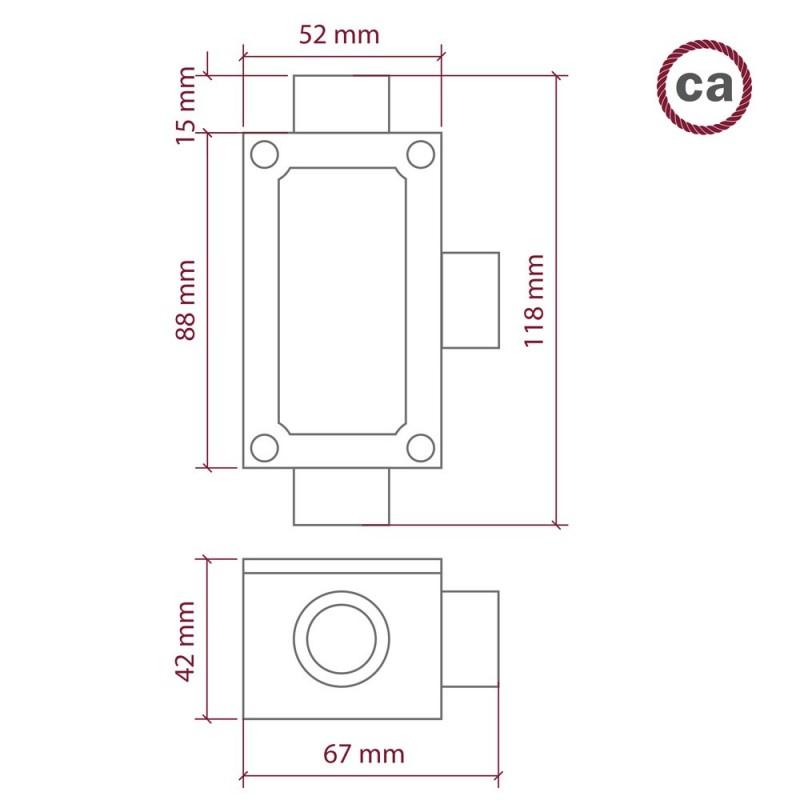 Κουτί διακλαδώσεως αλουμινίου σε σχήμα T με 3 υποδοχές για σωλήνα Creative-Tube